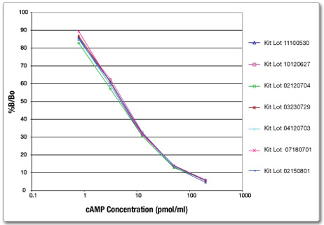 cyclic AMP ELISA Assay standard curves